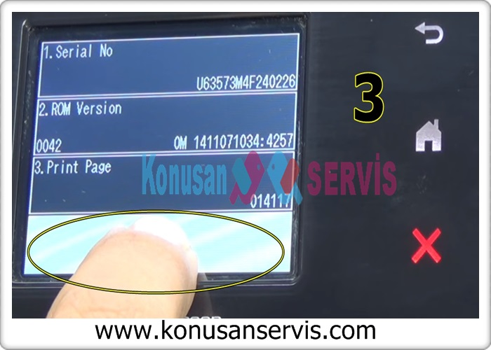 serial number will appear on the screen, the screen is divided into four, hold the bottom space
