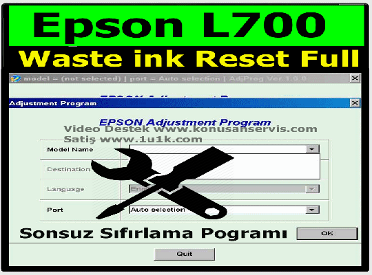 Reset Epson L700 Waste Ink Counter
