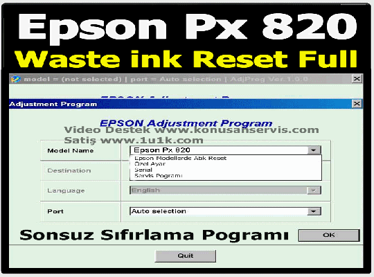 Epson Stylus Photo PX820WD- Waste İnk Error Reset Programı