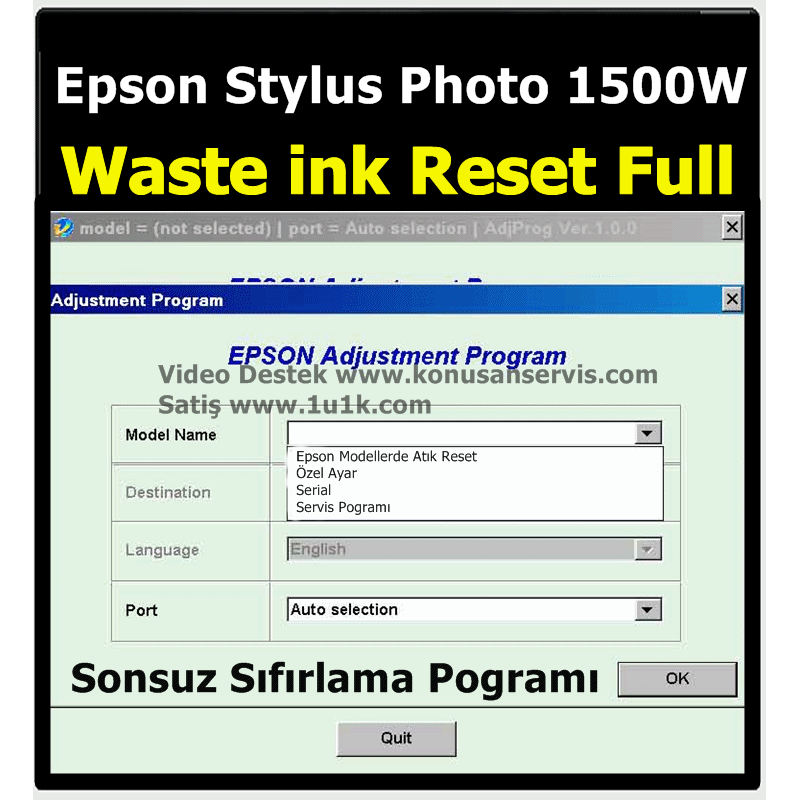 Epson Stylus Photo PX830WD Waste İnk Error Reset Programı
